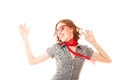 Pretty girl in red sunglasses cheerful dancing Stock Image