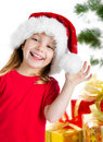 Pretty girl in santa claus hat Stock Photography