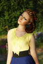 Pretty girl in sleeveless sundress outdoors cute romantic young woman Royalty Free Stock Images