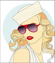 Pretty girl in sunglasses face Royalty Free Stock Photo