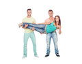 Pretty girl with two handsome boys isolated on a white background Stock Image
