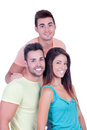 Pretty girl with two handsome boys isolated on a white background Royalty Free Stock Photos