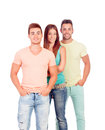 Pretty girl with two handsome boys isolated on a white background Royalty Free Stock Image