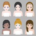 Pretty girl in various nationality and hair design