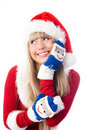 Pretty girl wearing funny mittens Stock Image