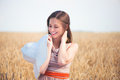 Pretty girl with white panama at wheat field young Royalty Free Stock Photo