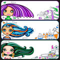 Pretty girls banners series Royalty Free Stock Photo