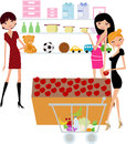 Pretty girls shopping in the supermarket Stock Images