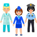 Pretty girls in uniform of doctors police and stewards female doctor female cop female flight attendant isolated on white Royalty Free Stock Photography