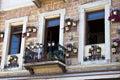Pretty greek balcony and flower pots Royalty Free Stock Photo