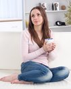 Pretty happy relaxed young lady Stock Images
