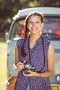 Pretty hipster taking a photo Royalty Free Stock Photo