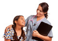 Pretty Hispanic Girl and Female Doctor Isolated Royalty Free Stock Photo