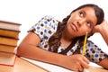 Pretty Hispanic Girl Studying Royalty Free Stock Photo