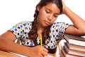 Pretty Hispanic Girl Studying Royalty Free Stock Photo