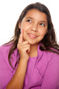 Pretty Hispanic Girl Thinking Royalty Free Stock Photo