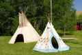 Pretty indian teepees traditional tents for rent at virginia city idaho Stock Photography