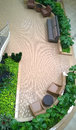 Pretty interior garden design and sofa viewed from above Royalty Free Stock Image