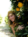Pretty islam woman in orange grove smiling close up Stock Photo