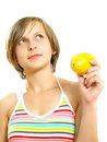 Pretty lady with a fresh lemon Stock Image