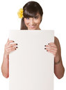 Pretty Lady Holding Poster Royalty Free Stock Photo