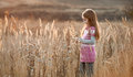 Pretty little girl in an autumn field Royalty Free Stock Photo