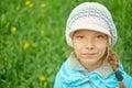 Pretty little girl in autumn park portrait of blue jacket Stock Images