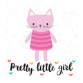 Pretty little girl. Cute little kitty. Romantic card, greeting card or postcard. Illustration with beautiful cat
