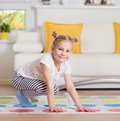 Pretty little girl have fun playing exciting game Royalty Free Stock Photo