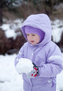 Pretty little girl in the park, winter Royalty Free Stock Image