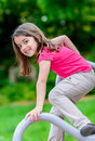 Pretty little girl on a playground portrait of Royalty Free Stock Image