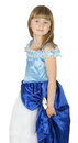 Pretty little girl in princes costume on the white background Royalty Free Stock Photo