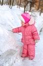 Pretty little girl in winter outerwear. Stock Photo