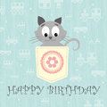Pretty little gray kitty vector illustration Royalty Free Stock Photo