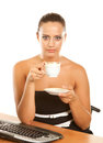 Pretty mature woman holding coffee cup Stock Images