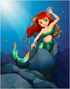 A pretty mermaid trapped with the big rocks under the sea illustration of Stock Photography