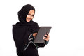 Pretty modern arabian woman tablet computer isolated white Stock Image