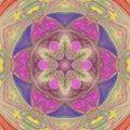 Pretty multicolor floral sun triangle mandala Royalty Free Stock Photo
