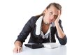 Pretty office manager speaking on  phone isolated Royalty Free Stock Photo