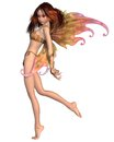 Pretty orange fairy red haired with make up and wings d digitally rendered illustration Royalty Free Stock Image