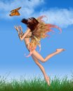 Pretty orange fairy in sunshine red haired with make up and wings dancing with a butterfly the summer d digitally rendered Royalty Free Stock Photos