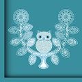 Pretty owl on a stylized perch perched funky tree with different patterned leaves separate elements in format Royalty Free Stock Image