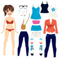 Pretty paper doll set ponytail hairstyle brunette women clothing collection Royalty Free Stock Photography