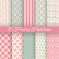 Pretty pastel vector seamless patterns (tiling,
