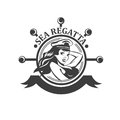 Pretty pin up girl, sailor old school style. Sea Regatta sign. Vector illustration Royalty Free Stock Photo