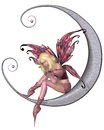 Pretty pink moon fairy dressed in sitting on a silver d digitally rendered illustration Stock Photography