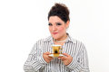 Pretty plus size woman with coffee Royalty Free Stock Images