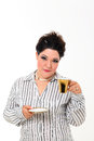 Pretty plus size woman with coffee Stock Image