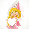Pretty princess in a pink dress holding a banner-h Royalty Free Stock Images