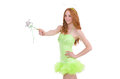 Pretty red hair fairy in green dress isolated on